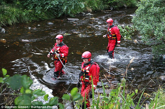 Hunt: Separate search and rescue operations were underway at the River Garnock (pictured) in North Ayrshire, and at the River Tay in Perth last night following reports of a 10-year-old girl and a 16-year-old boy being swept away