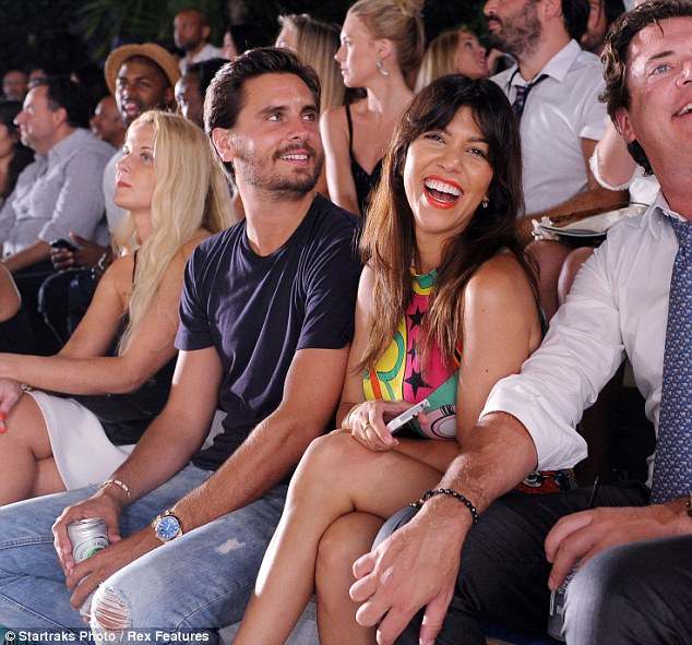 Kourtney and Scott take in a show during their time in the sunshine state for Mercedes Benz fashion week