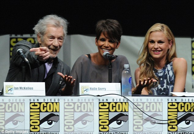 Anna Paquin with her X-Men: Days of Future Past co-stars Sir Ian McKellan and Halle Berry at Comic-Con in San Diego