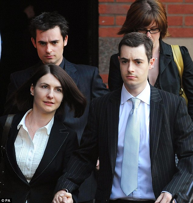 Brothers Anthony Darwin (front right) and Mark Darwin (rear left) leave Teeside Crown Court after their mother Anne Darwin was jailed for six and a half years and their father John Darwin was jailed for six years