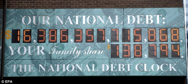 On the last day of 2012, the national debt clock in New Yrk City showed $16.38 trillion in debt, comign out to more than $138,000 for each U.S. family