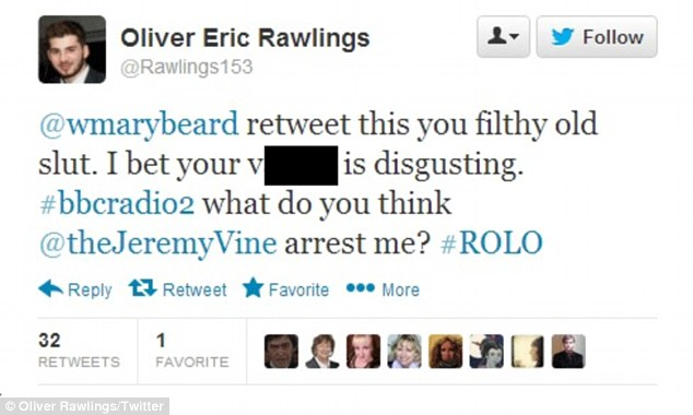Shocking: Oliver Rawlings, 20, called Mary Beard, 58, a 'filthy old slut' and posted a revolting sexual comment