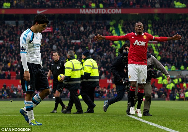 Saga: The Suarez and Evra row continued when the pair didn't shake hands at the following league meeting