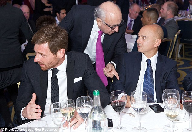 Talking business: Levy (right) with Spurs boss Andre Villas-Boas and Jonathan Barnett, Gareth Bale's agent