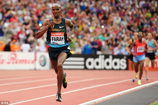 Versatile: Farah was back on the Olympic Stadium track to run a  number of distances after his 3,000m win