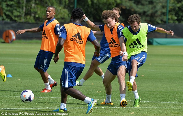 Time off: Luiz is back in training at Chelsea at returning from the Confederations Cup
