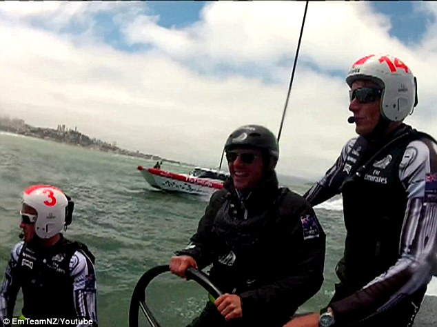 Choppy waters: The Mission Impossible star and his son, who's wearing the No. 3 helmet, took turns at the helm of the racing catamaran