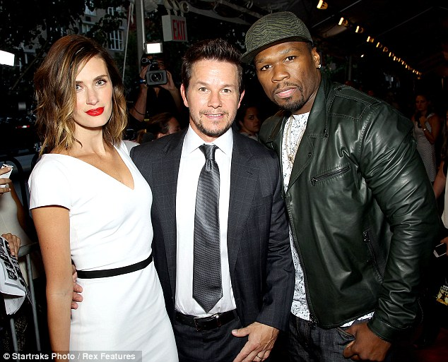 True bromance! Mark Wahlberg and his close buddy 50 Cent lean in for a photograph on Monday at the 2 Guns film premiere in New York City and Rhea Durman was there also