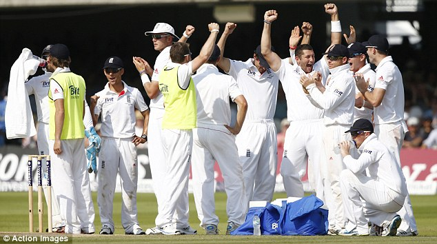 Controversy: Agar looks baffled as he is given out on review while England (below) celebrate