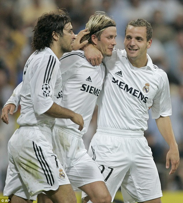 Born in the Bernabeu: Soldado (right), seen here celebrating with Raul and David Beckham during a Champions League match in 2005, started his career at Real Madrid