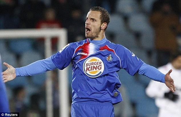 Proven scorer: Soldado celebrates a goal for Getafe in the semi-final of the Copa del Rey against Sevilla in 2010