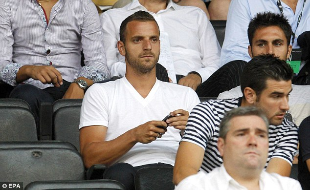 On the sidelines: Soldado looked on from the stands as Valencia played AC Milan in a Guinness International Champions Cup match at the Mestalla on Saturday