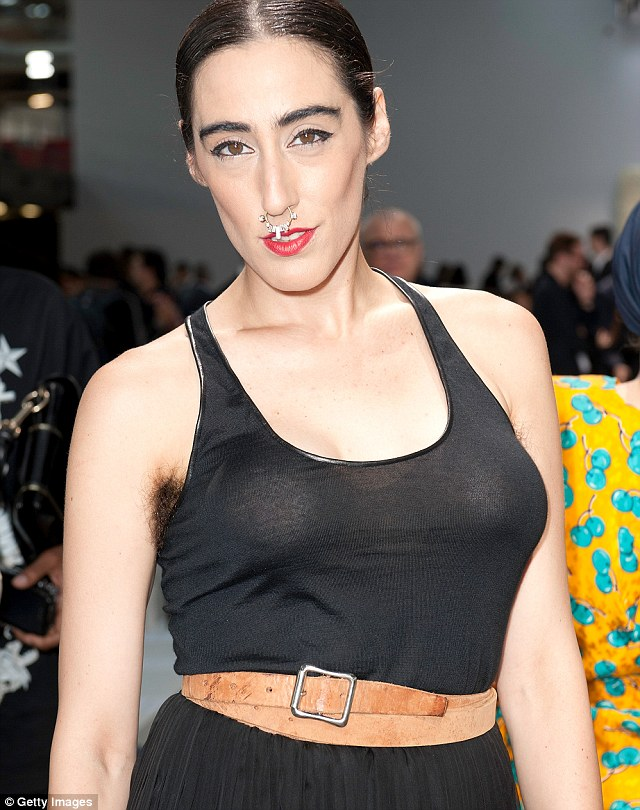Striking: Writer and performer Ladyfag attended the Givenchy Menswear Spring/Summer 2013 show wearing an oversized nose ring