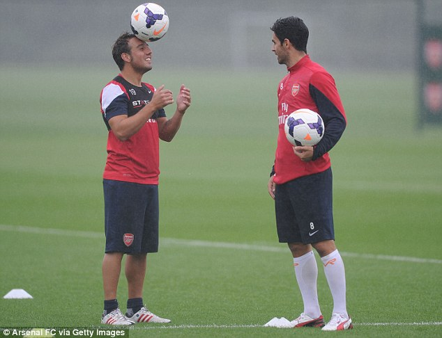 Busy summer? Santi Cazorla was also joining up with the squad for the first time after his Spain commitments