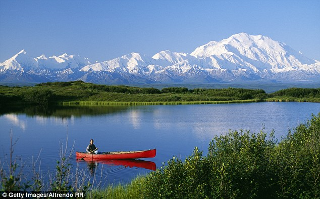 Canoeist on lake, Mount McKinley, Denali National Park