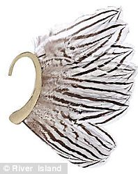 River Island Gold tone ear cuff with feather embellishment £13.00