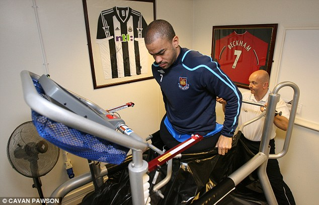 In training: Dyer uses an air treadmill while returning from injury at West Ham