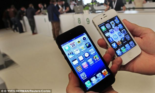 Apple's iPhone 5, right, and iPhone 4S, left, tied in third and fourth place with 82 points, while the iPhone 4 scored 81.