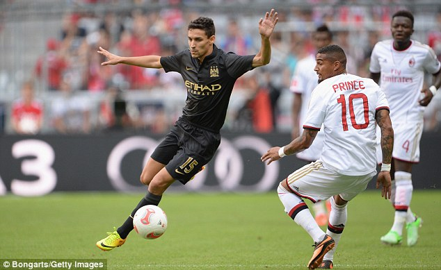 Impressive: Jesus Navas offered good support down the right and played an integral part in the opener