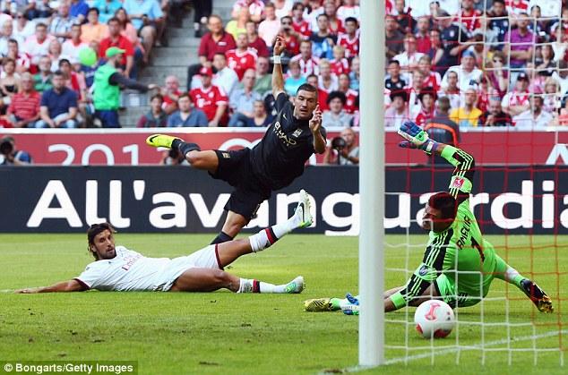Take that: Aleksandr Kolarov rattled home the third goal from the left