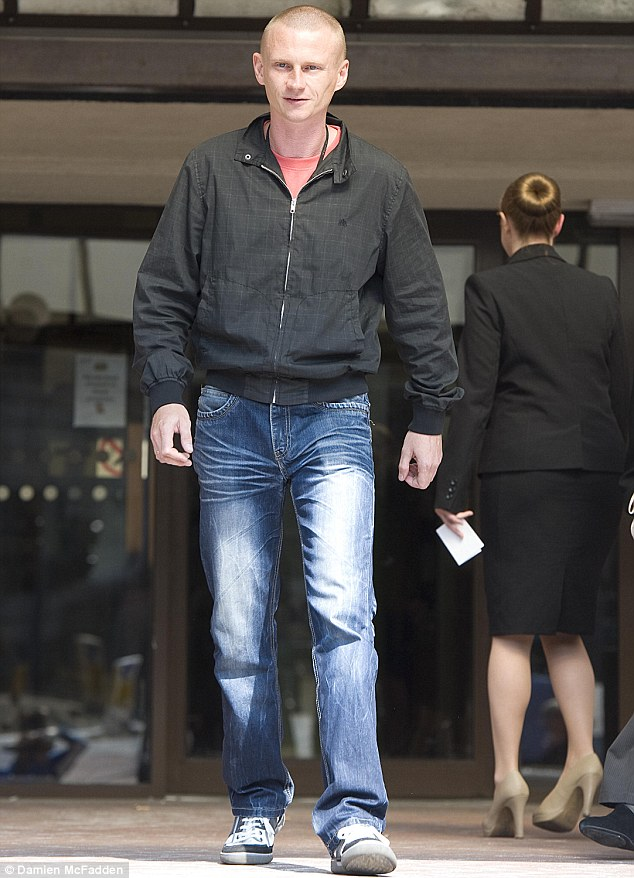 Devastated father: Eryk Pelka, Daniel's biological dad, leaves court after giving evidence against his son's mother and stepfather