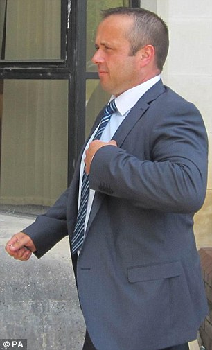 Set for jail: Police officer Jeffrey Davies, 42, looked pale and a little shaken as the verdict was given