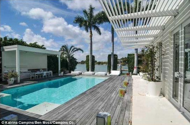 Beautiful: The home boasts a large private pool where Shakira and her family enjoyed the warm Florida weather