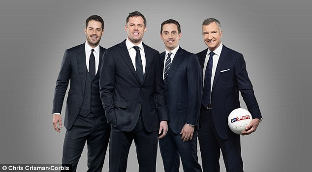 Welcome coverage: Neville leads the Sky Sports pundits, including Jamie Redknapp (left) and Graeme Souness (right) and they have strengthened with the signing of Jamie Carragher