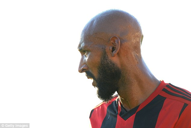 Sweat and tears: Nicolas Anelka played for West Brom as they lost to Genoa