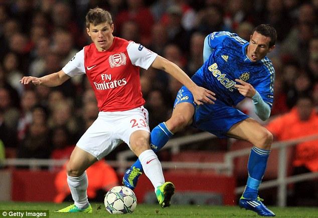 Pedigree: Morgan Amalfitano of Marseille, here battling with former Arsenal winger Andrey Arshavin
