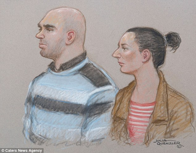 Jailed for life: Daniel's mother Magdalena Luczak, 27, and his stepfather Mariusz Krezolek, 34, sketched in court today, were again cold and unemotional as they were given 30 years in jail