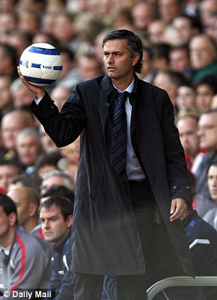 Chelsea manager Jose Mourinho with the ball
