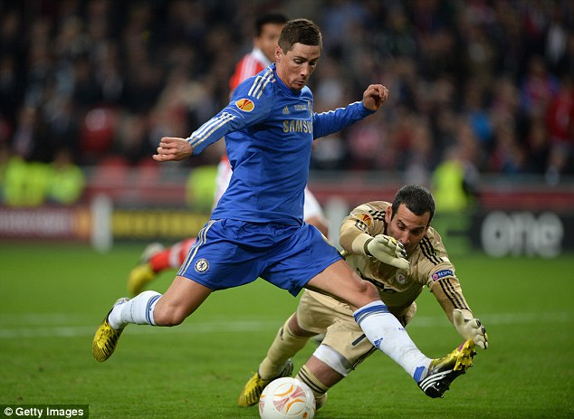 On target: Torres scored the opening goal in Chelsea's 2-1 Europa League final win over Benfica in May