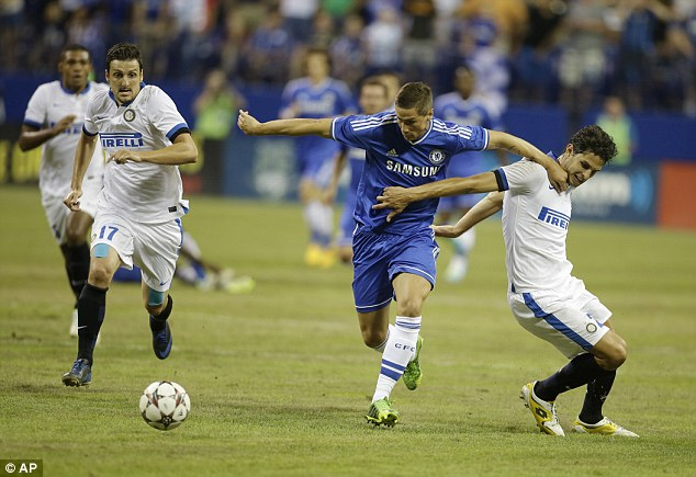 Powering through: Torres made his first pre-season appearance against Inter Milan in Indianapolis