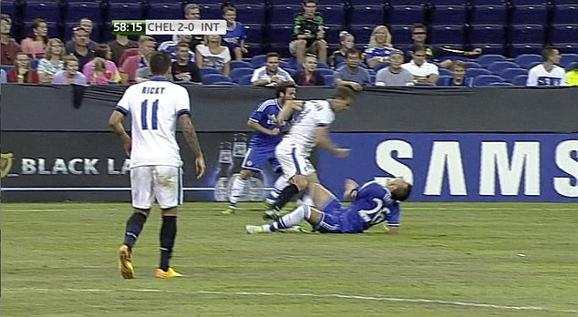 Horror: Terry escaped serious injury after this challenge from Inter's Campagnaro
