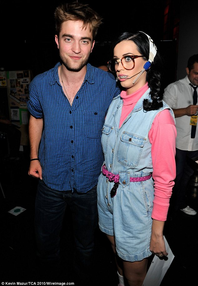 Fast friends: Robert got a laugh out of Katy's goofy costume when she hosted the  2010 Teen Choice Awards