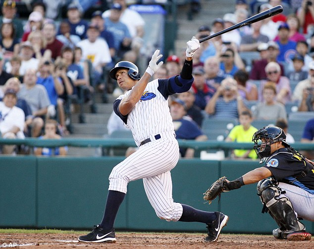Out with a bang!: A-Rod admires what may be the last home run he hits as a professional ball player Friday night during a rehab game with the minor league Trenton Thunder