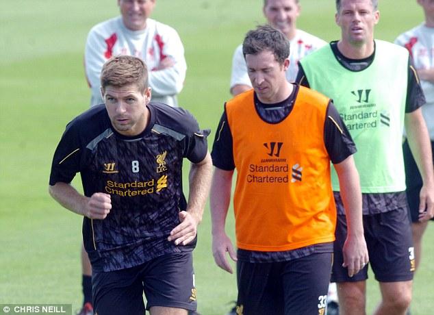 Testimonial: Gerrard prepares alongside Liverpool old boys Robbie Fowler and Jamie Carragher