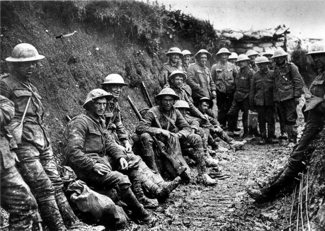 Troops: First World War party of Royal Irish Rifles in a communication trench on the first day of the Battle of the Somme