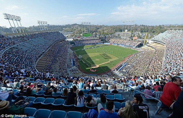 Hitting the heights: Fans near the back of the Dodger Stadium were treated to a grand view