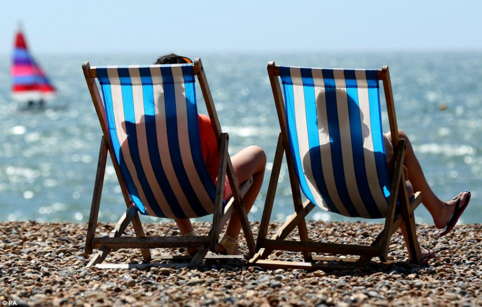 By the seaside: The weather in the southeast was much sunnier than the west of the country