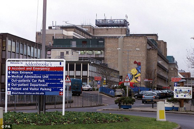 Medical attention: Mr Holmes was treated in the critical care unit of Addenbrooke's Hospital in Cambridge