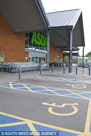Incident: The Asda store car park has ten disabled bays outside the main entrance of the single-storey supermarket