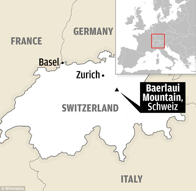 A map showing the location of Baerlaui Mountain in the Swiss Alps