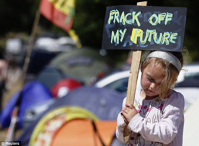 Children were out in force: a young protestor holds a placard at the entrance gate belonging to the site near Balcombe