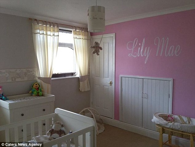 A room fit for a little princess: The nursery was designed for Lily-Mae, and even had her name stencilled on the walls, but it has now been decorated with Monsters Inc to make it more suitable for Joseph