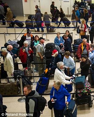 Standing around: Delays at London Heathrow Airport's Terminal One three months ago