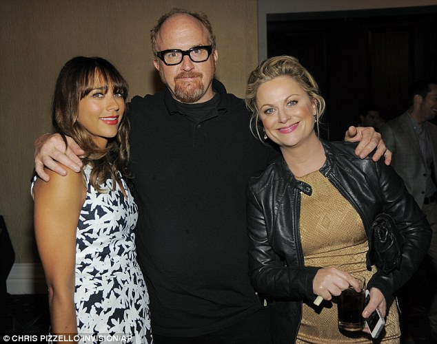 Sorry Louie: Amy and Parks and Rec co-star Rashida Jones posed with Louis C.K., whose show won the award last year