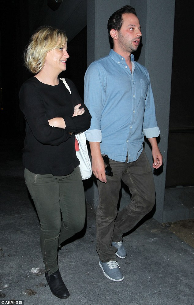 Here to celebrate: Amy Poehler and boyfriend Nick Kroll stepped out to dinner at the Hungry Cat restaurant in Hollywood Sunday night after attending the TCA Awards hours before