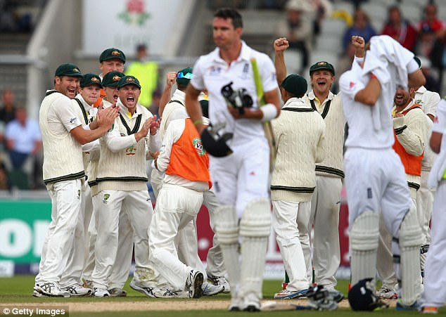 Wobbled: Alastair Cook, Jonathan Trott and then Kevin Pietersen were all dismissed before lunch